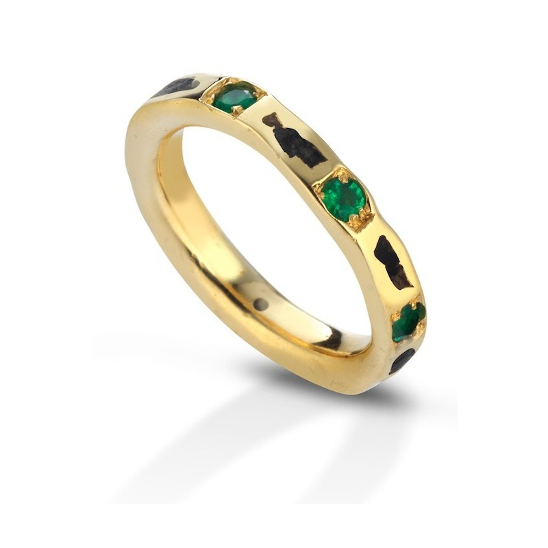 Aeolian ring wide emeralds